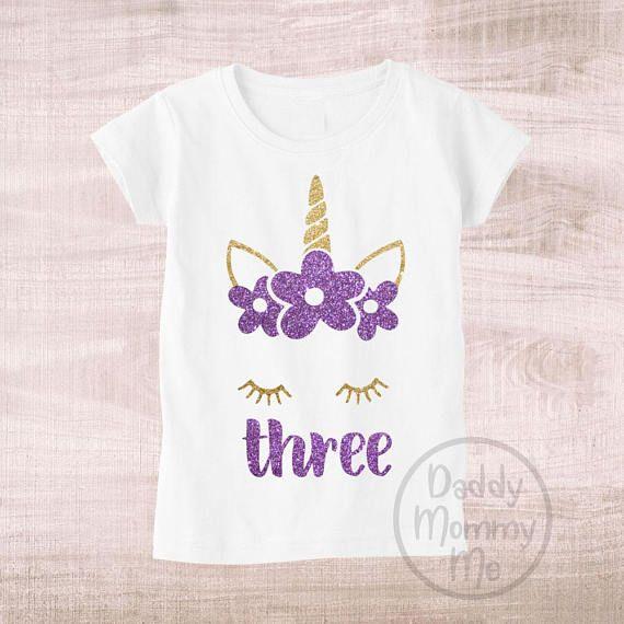 Three Unicorn Birthday Shirt 3rd Year Old Girl Shirts For Girls