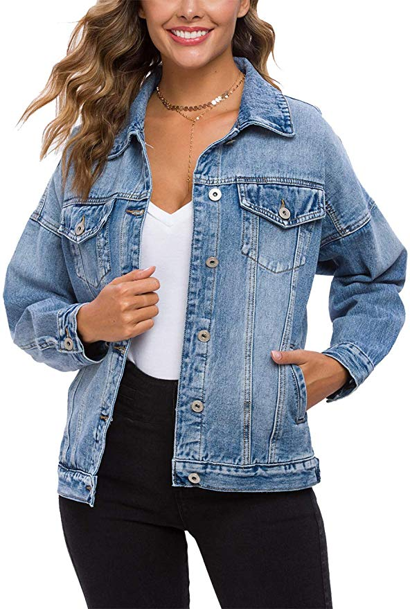 Oversized Jean Jacket Womens Vintage Washed Denim Jacket