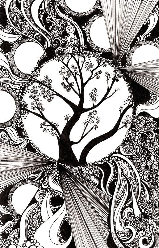 creative doodling black and white abstract with trees by zentangle zendoodle pen ink drawing tangle ideas zen art inspiration