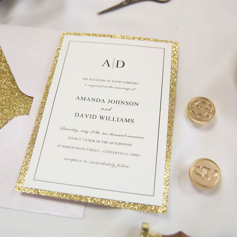 Luxury pale gold rose laser cut pocket wedding invitations with glitter bands and tags ewws190