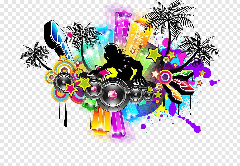 Dj Silhouette Illustration Nightclub Music Disco Poster Color Moving Audio Speakers Music Poster Free Png Music Poster Silhouette Illustration Dj Images
