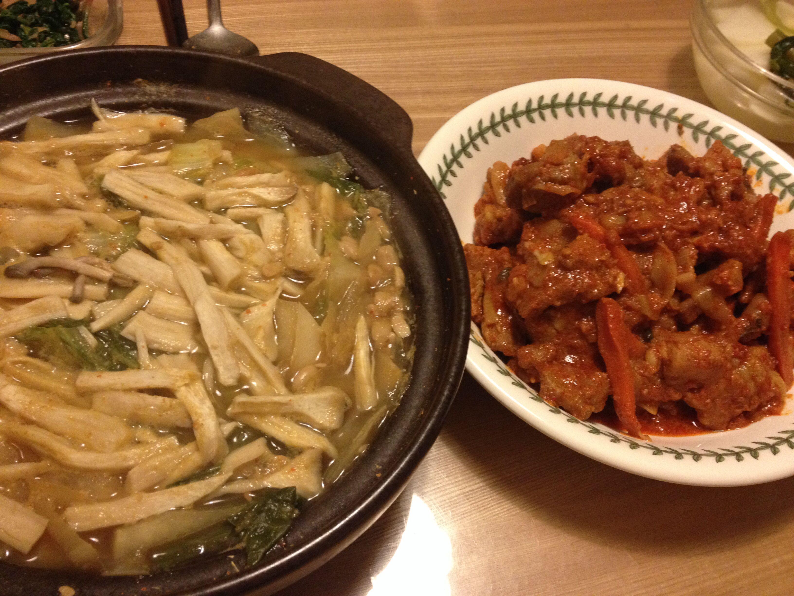 2014.2.10 저녁. 된장 찌개와 제육 볶음