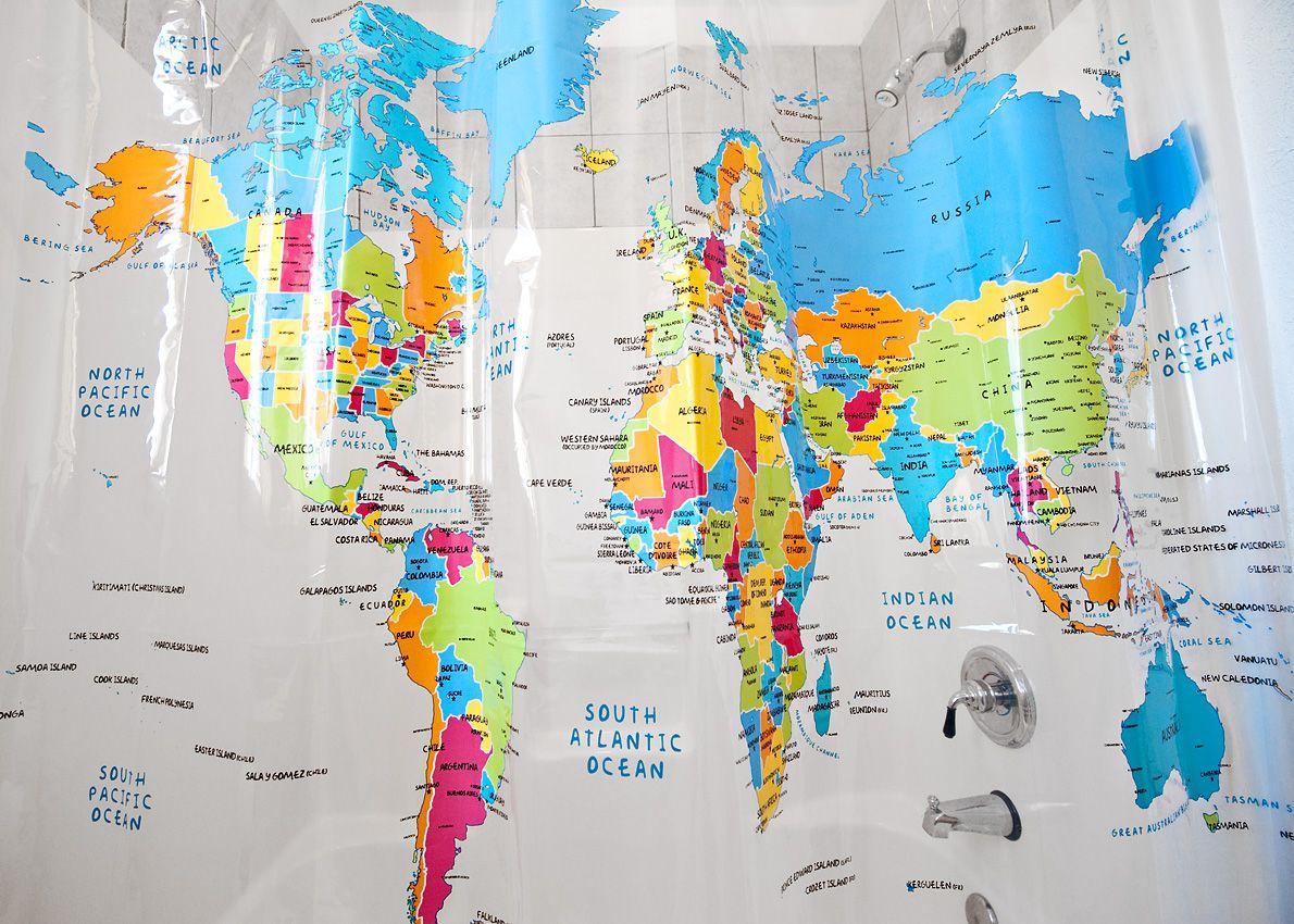World Map Shower Curtain Amazing Life Hacks Life Hacks Useful Life Hacks