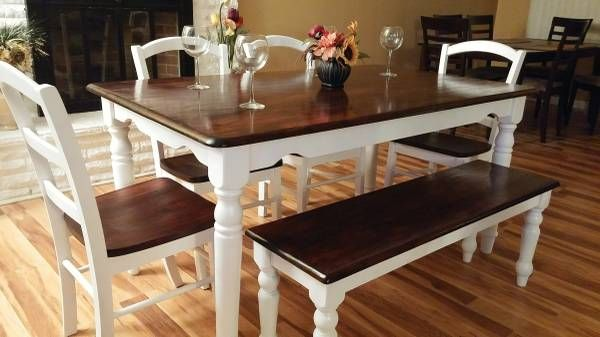 Rustic Farmhouse Table Brown Stained Top White Painted Legs 4