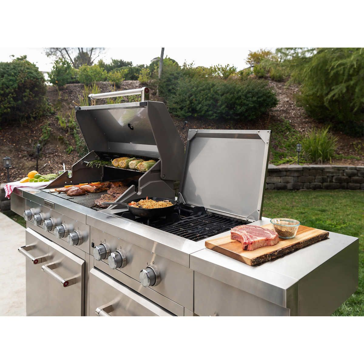 Kitchenaid Stainless Steel 8 Burner Grill In 2021 Pizza Oven Outdoor Kitchen Cooking Area Kitchen Aid
