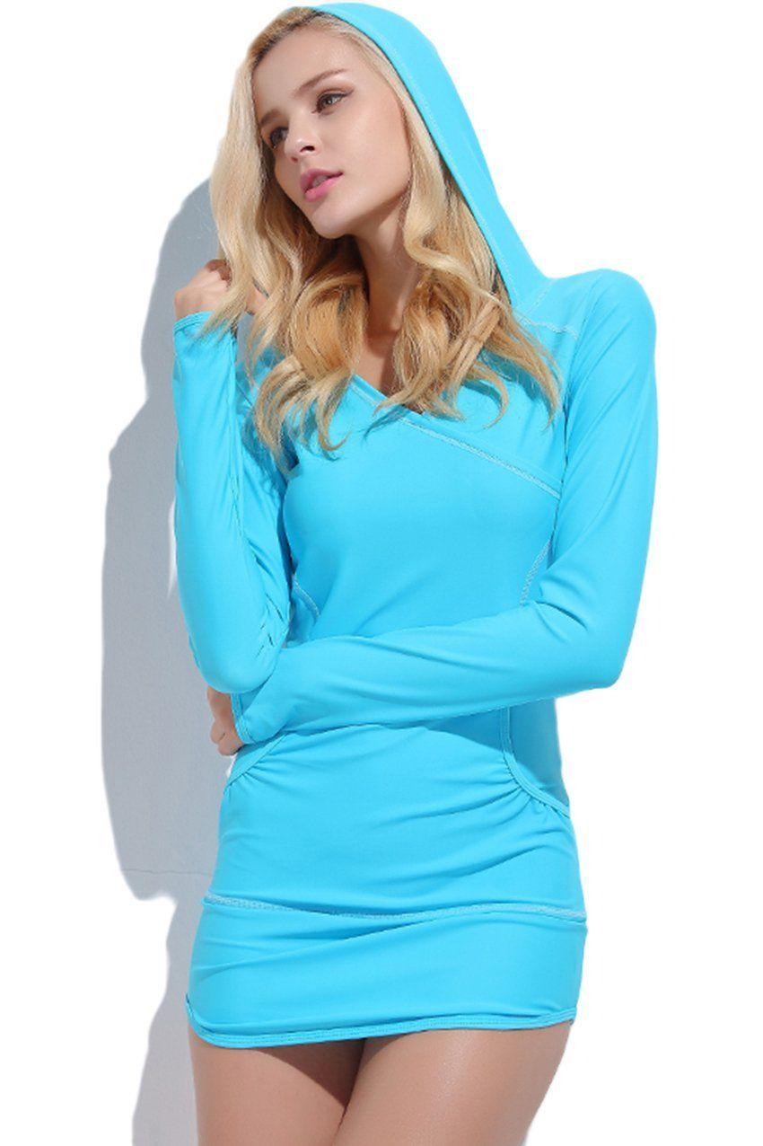 3a297e224c220c Long Sleeve Thumb Hole Hooded Swim Dress  Long Tunic -