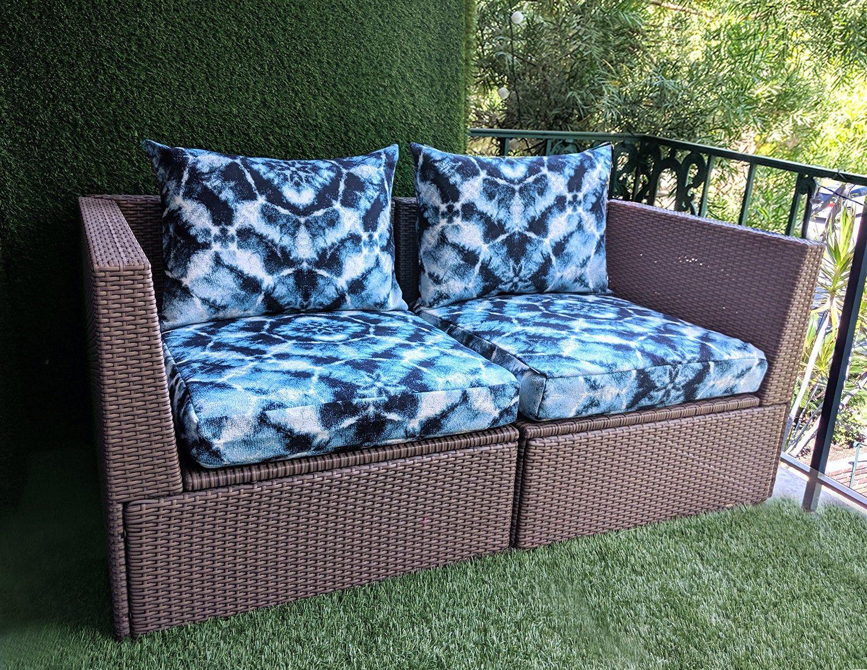 Ikea Cushion Covers Sunbrella Authentic Indigo Blue Shibori Tie