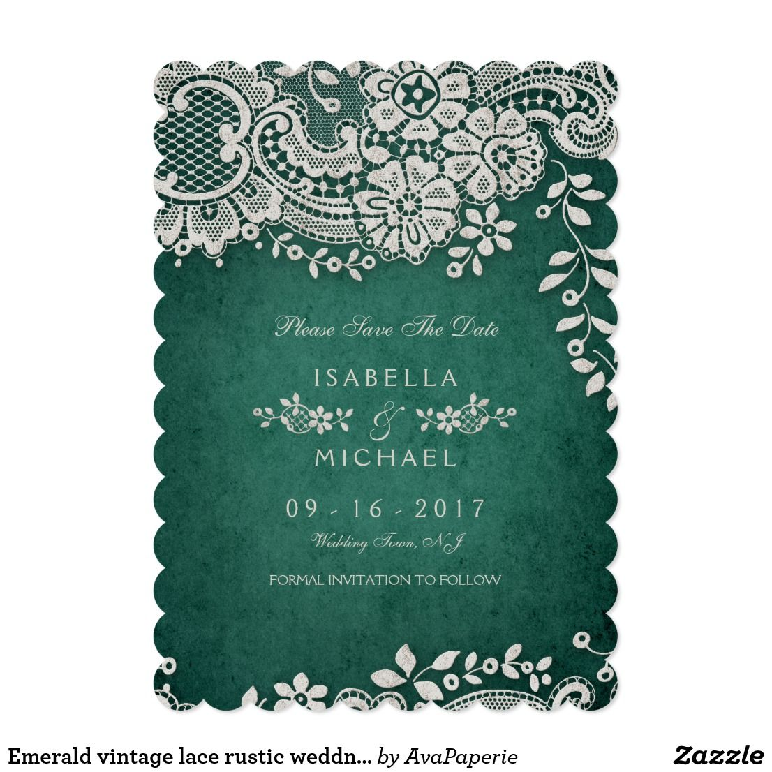 Emerald Vintage Lace Rustic Weddng Save The Date Zazzle