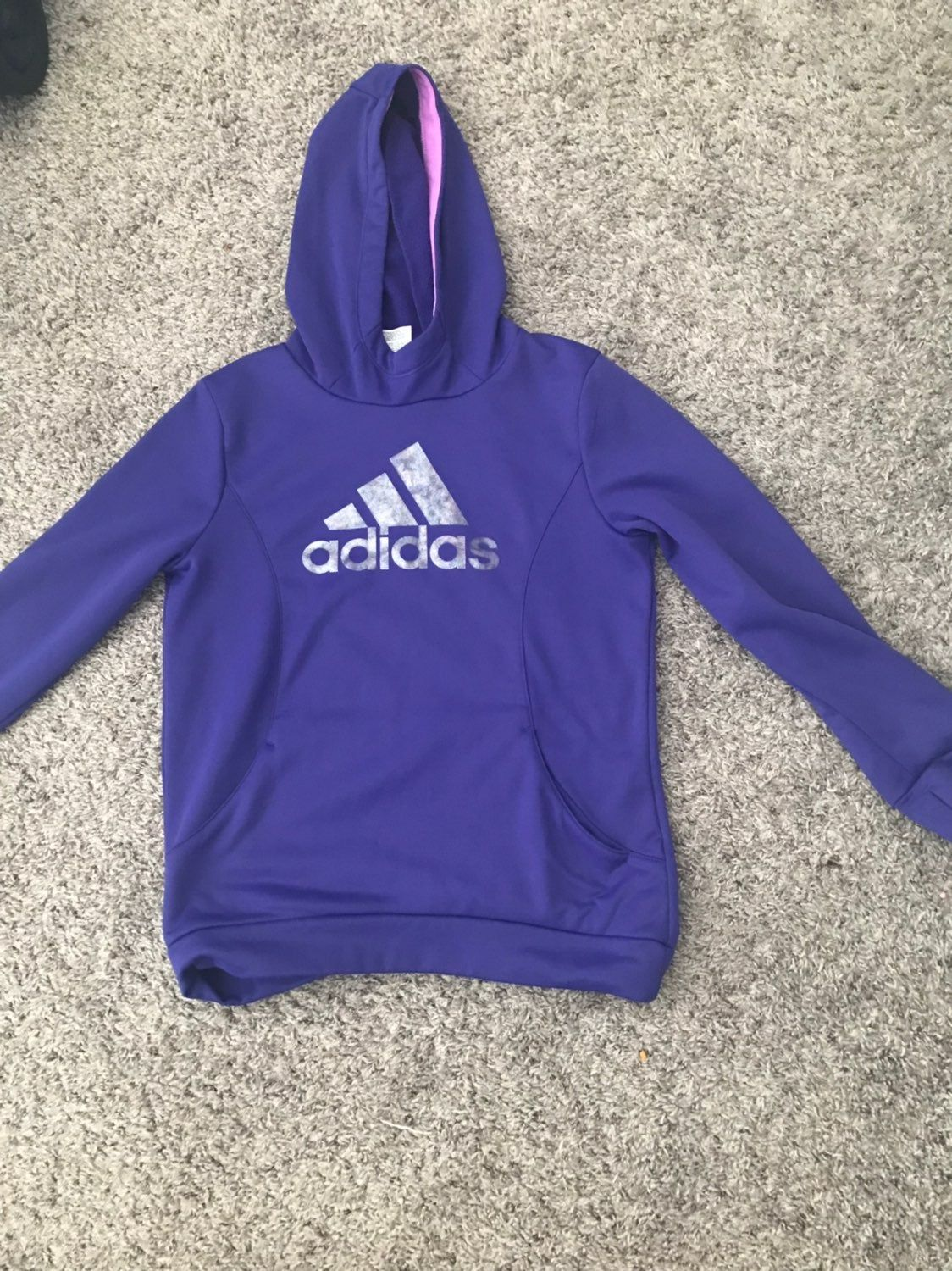 Purple Adidas Hoodie In Great Used Condition Size L 12 14 In Kids Adidas Hoodie Hoodies Adidas Tops [ 1500 x 1124 Pixel ]