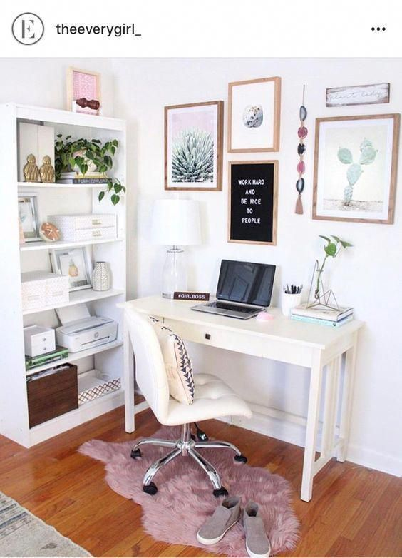 Pink home office; home office ideas; chic home office; modern home office; #homeoffice #homedesigns #homedecors #bedroomdesk