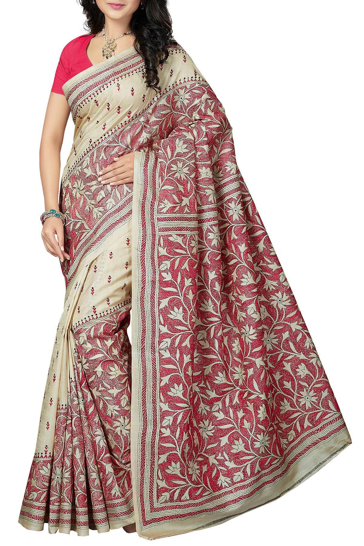 Off white tussar silk saree offwhite u pink floral nakshi kantha tussar silk saree  sareeus