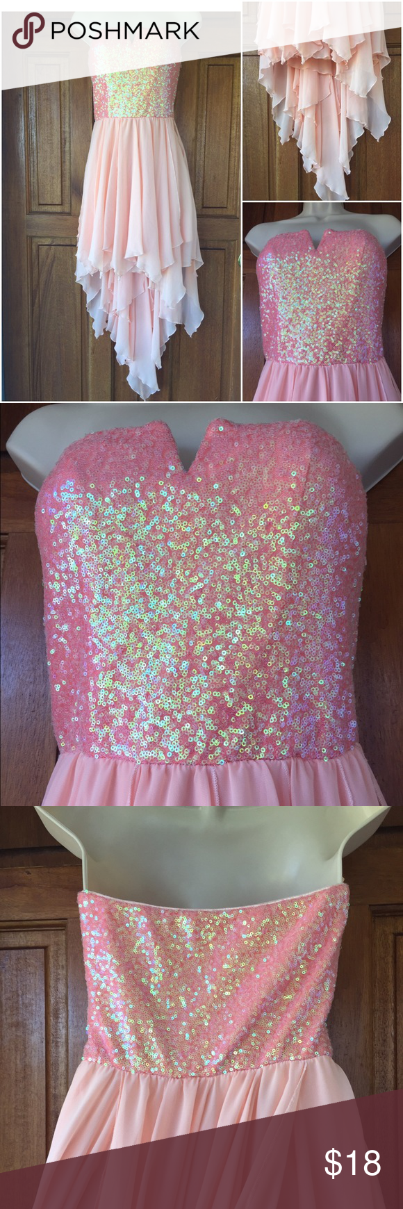 As u wish formal dress  Sz 4 / 5 Party 🎉 dress very pretty pink completely sequins, multi layered skirt. As U Wish Dresses High Low