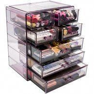Sorbus Acrylic Cosmetic Makeup and Jewelry Storage Case Display, Spacious Design, 4 Large, 2 Small Drawers, Pink - Walmart.com