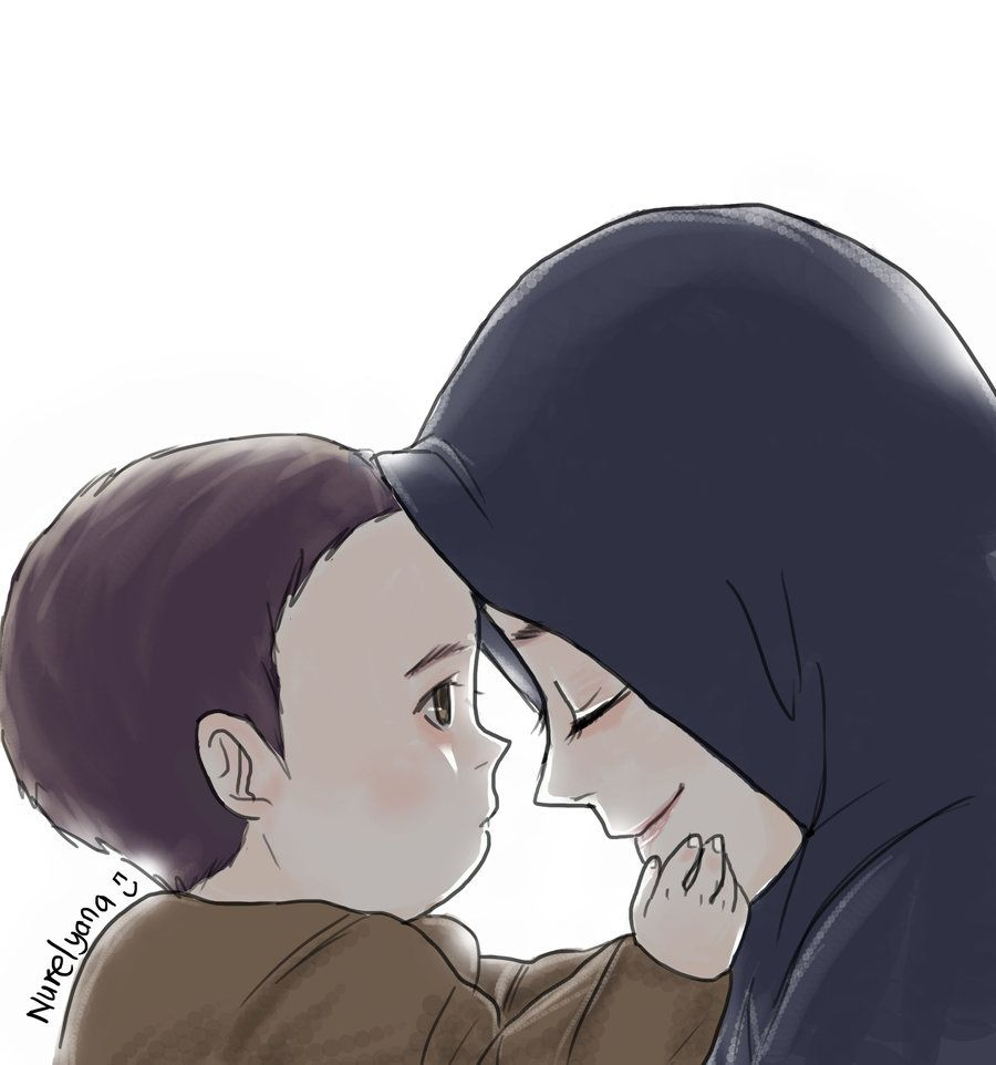 Mother By Yana8nurel6bdkbaik Deviantart Com On Deviantart Mother And Child Drawing Islamic Cartoon Anime Muslim