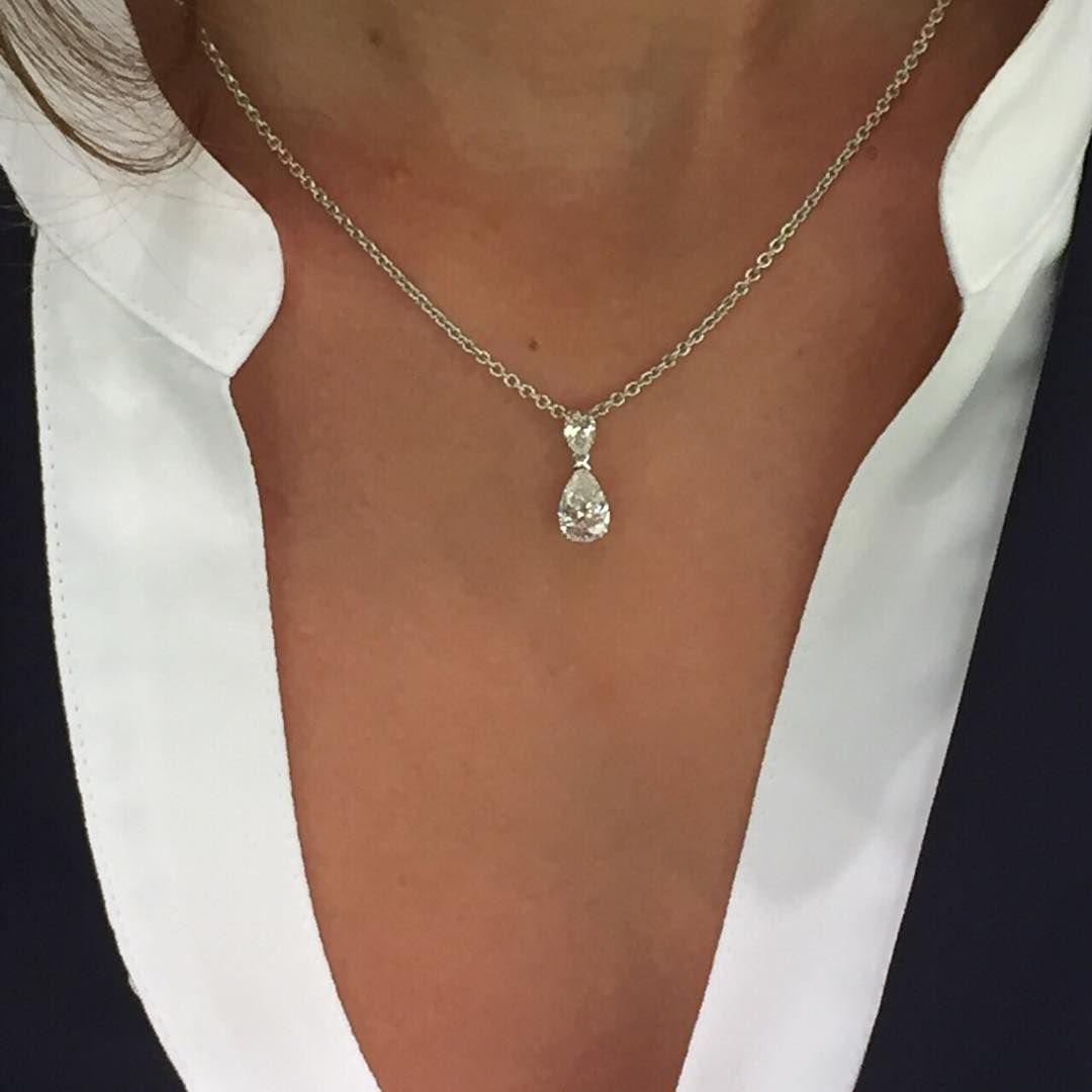 White Gold Filled Women Love Coeur Topaze Cristal Pendentif Chaîne Collier Bijoux