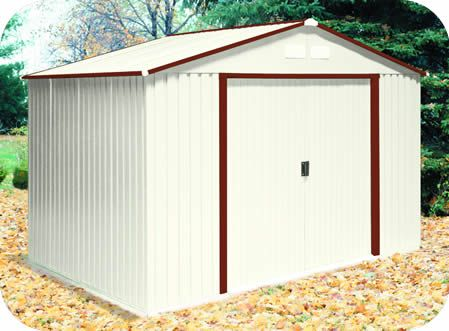 Duramax 10x8 Delmar Metal Shed W Floor Brown Trim Metal Shed Cheap Storage Sheds Diy Storage Shed Plans