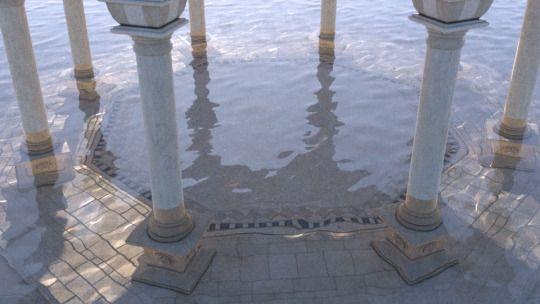 Das Wasser, das den Palast geflutet hatte, leckte an den Säulen und ließ die Schatten auf seinen Wellen tanzen - und das war auf eine skurrile Weise schön. @Mallybear