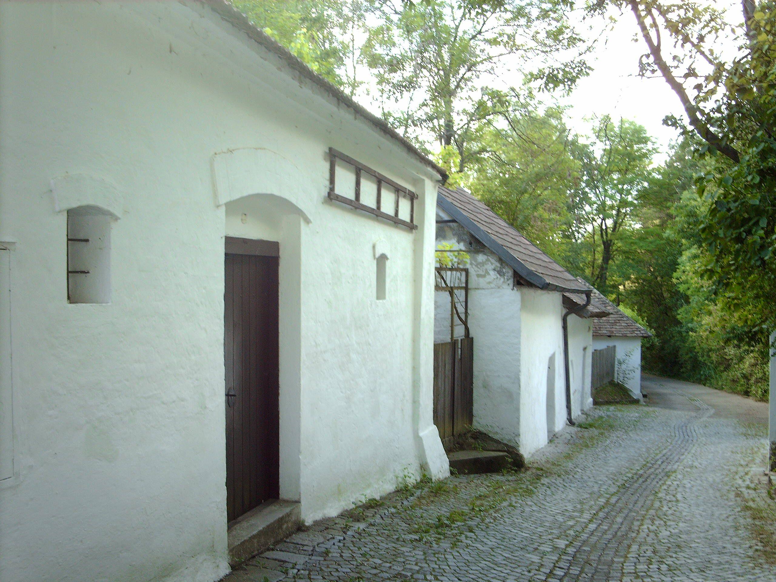 Typical wine cellar alley in the wine region of lower austria