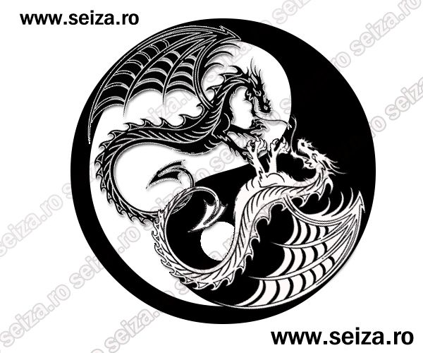 balance tattoo with dragon | ... of black and white dragons yin ...