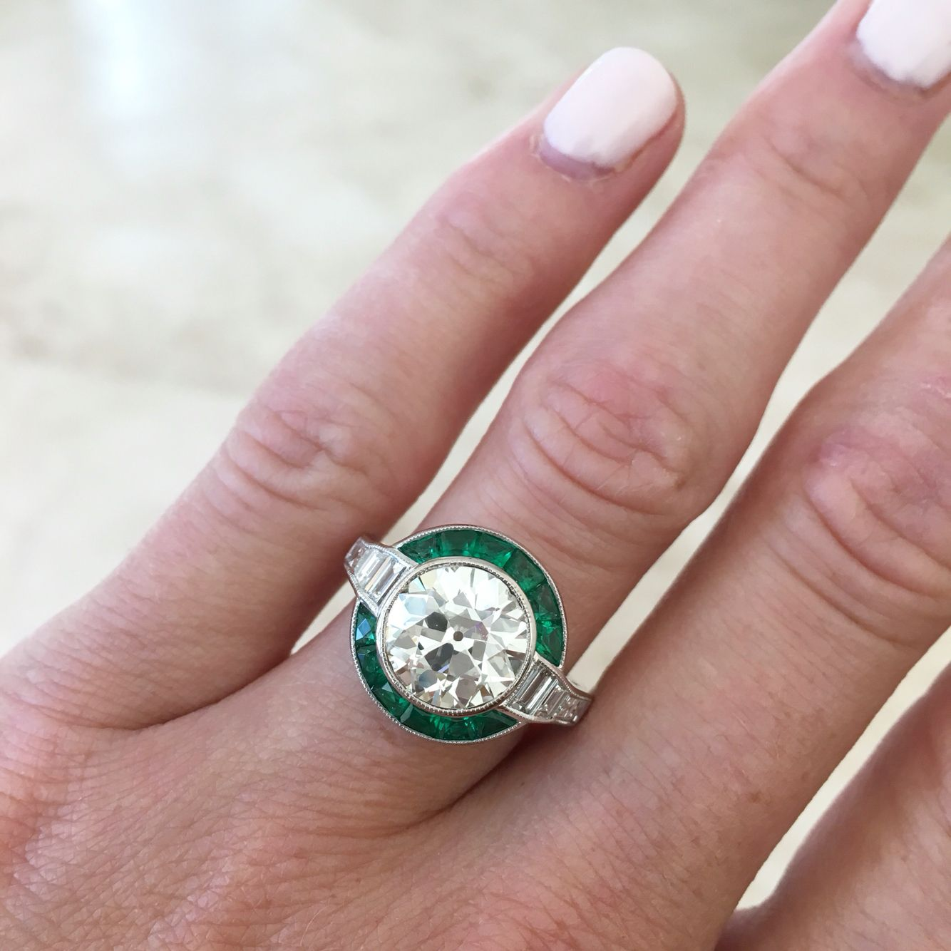 Liz Legg Jewelry: Art Deco emerald and diamond round brilliant ring ...