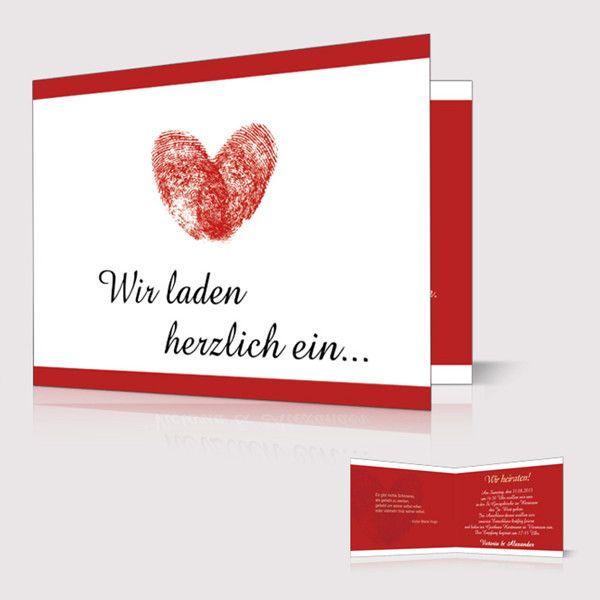 Einladung Zur Hochzeit Schlicht Fingerabdruck Herz Rot Weiss P
