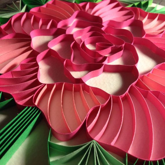 3D Paper Quilling Peony on Etsy, $50.00
