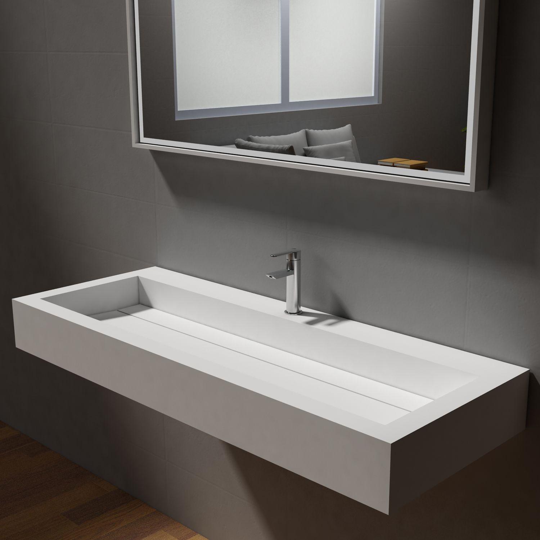 Bernstein Badshop Aufsatzwaschbecken Wandwaschbecken Pb2079 Aus Mineralguss 120 X 46 X 13 Cm Weiss Matt In 2020 Badezimmer Design