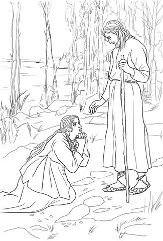 Mary Magdalene Meets Jesus Coloring Page Jesus Coloring Pages