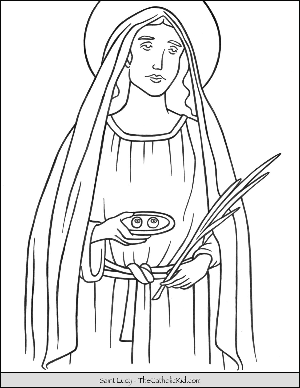 Saint Lucy Coloring Page Thecatholickid Com Saint Lucy