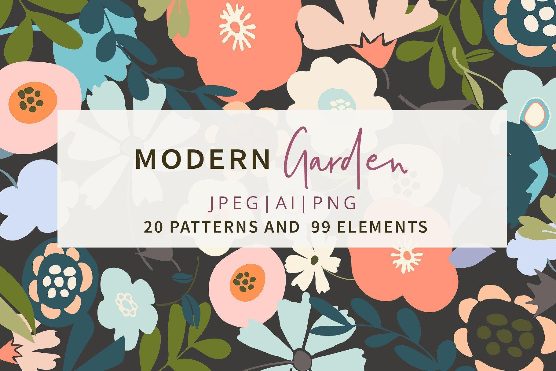 20 Modern Garden Patterns Elements Modern Garden Vector Flowers Pattern