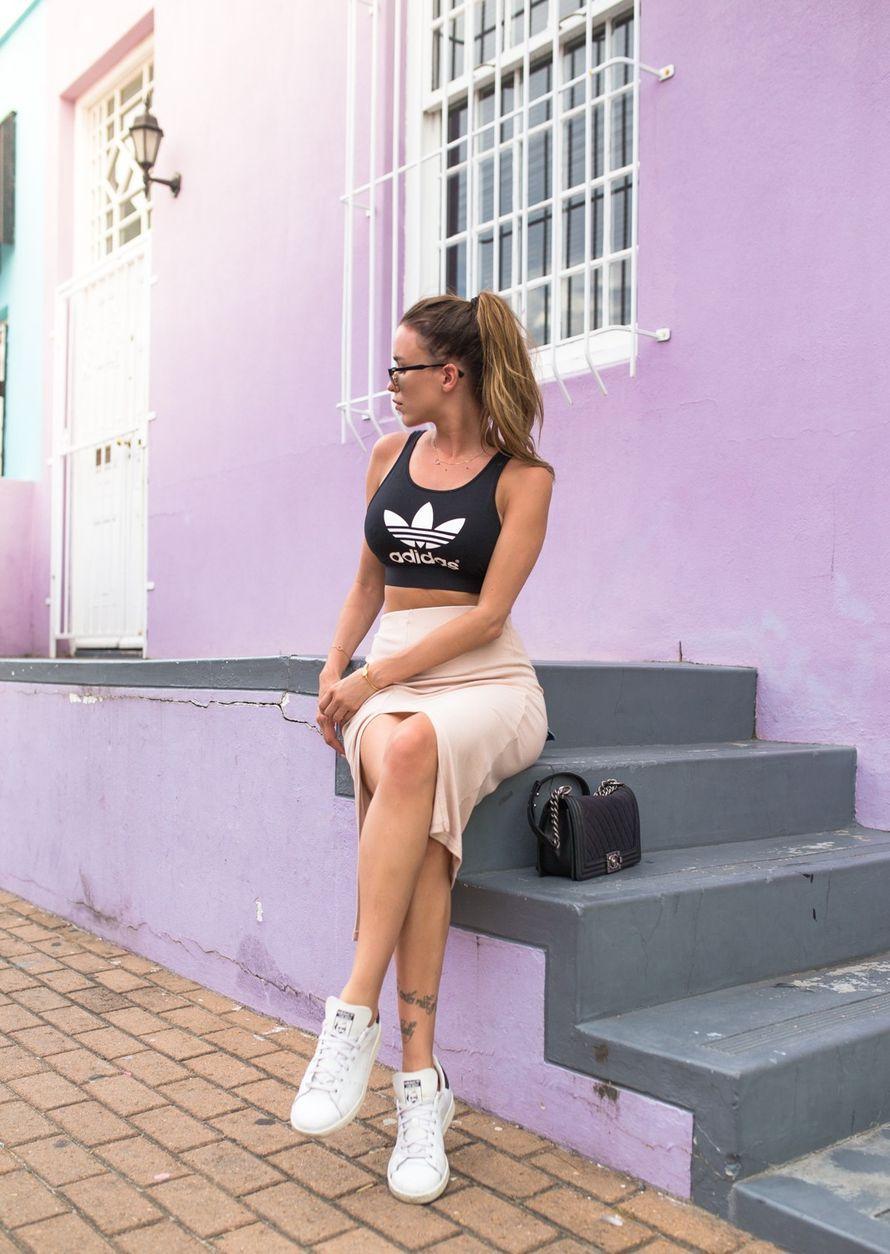 Top ADIDAS - Skirt NELLY - Sneakers ADIDAS - Bag CHANEL | Julia Toivola