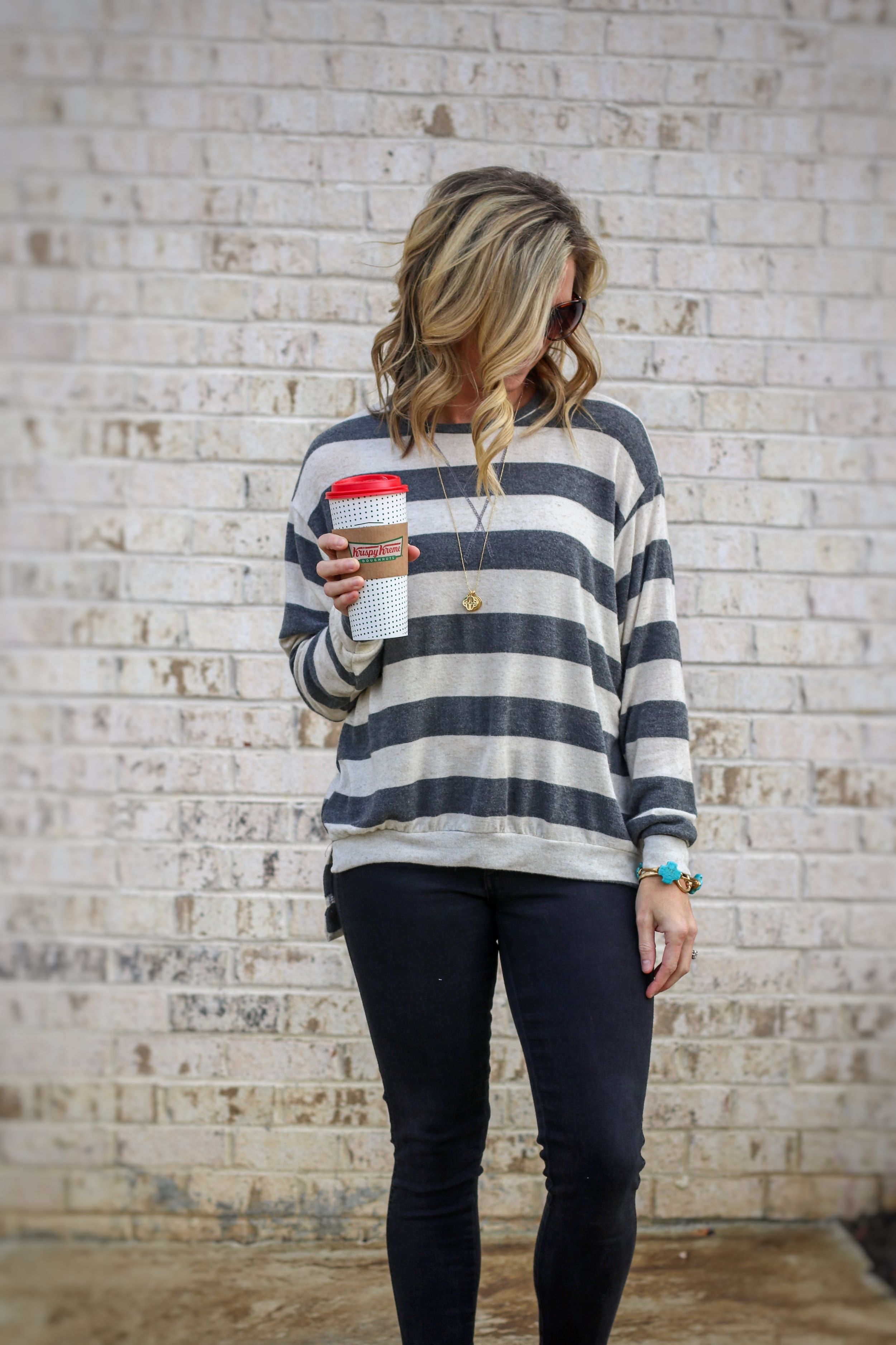e30498272a035 This striped top is fleece lined and perfect for the mom on the go ...