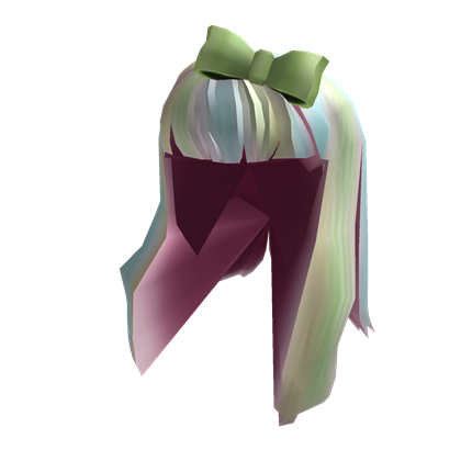spring hair with green bow - roblox