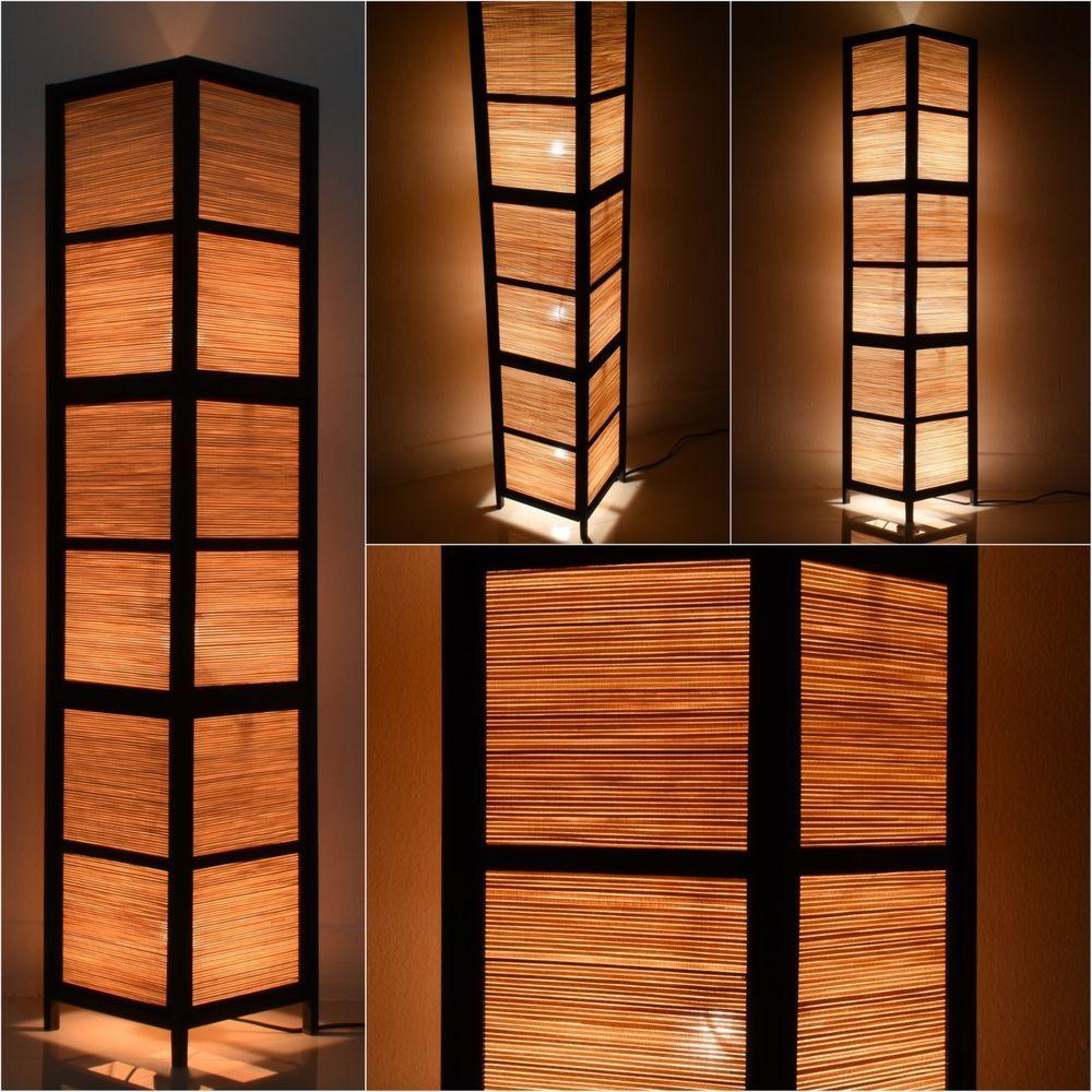 Details About Asian Oriental Bamboo Zen Art Bedside Floor Lamp