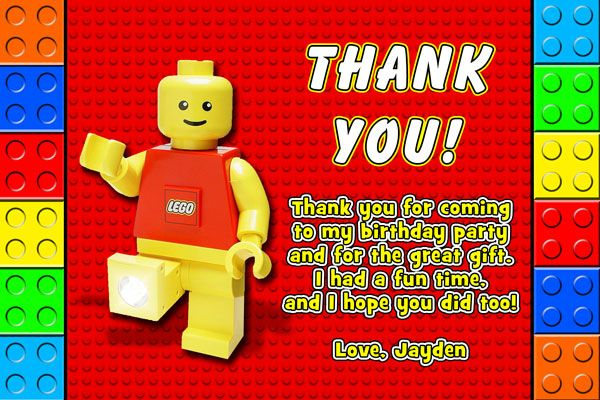 Lego Thank You Cards Lego Thank You Card Lego Thank You Cards