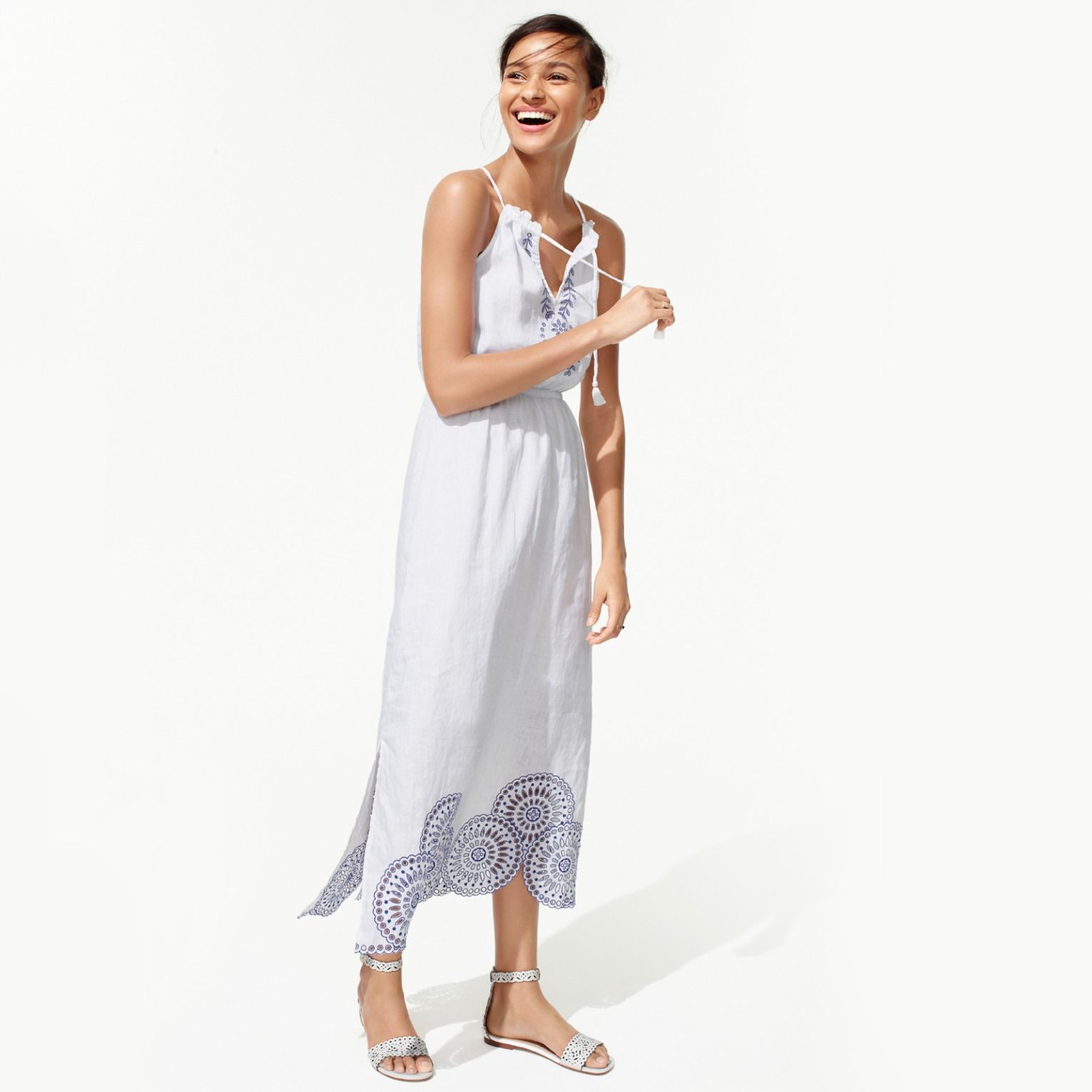 ee89925814 J.Crew Looks We Love: women's linen dress with eyelet detail and leather  eyelet sandals with ankle strap.