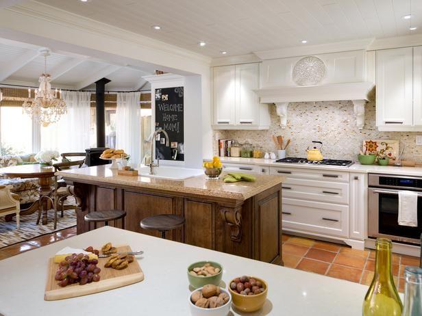 ideen Küche landhaus stil granit arbeitsplatte weiße schränke