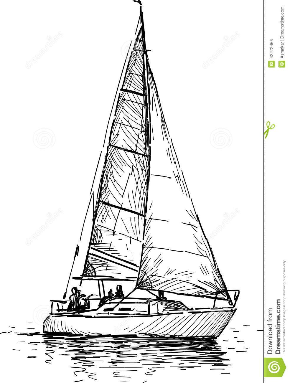 Sailboat Drawing Sketch Sailboat Drawing Sketch Sailing Yacht