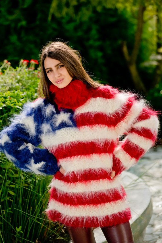 11821cdb02a142 American Flag ,Mohair Sweater,Mohair Pullover,Hand Knit Pull,T neck Sweater,Angora  Wool Fetish,Turtl