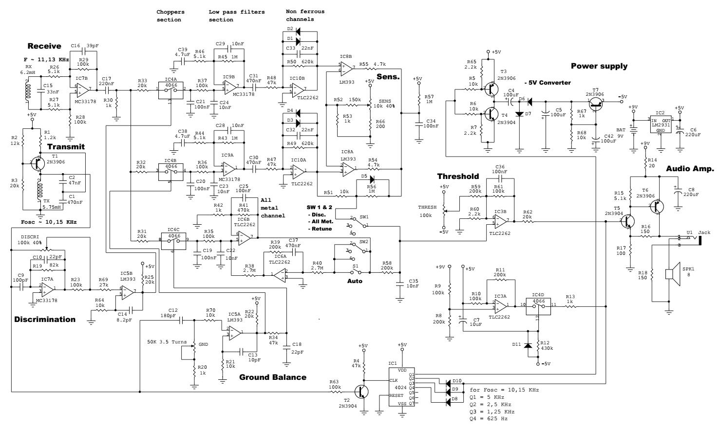 Schematic Diagram Of Tesoro Bandido Ii Metal Detector Metal