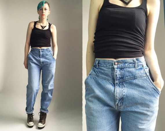 12a163df0bc Vintage 1980 s Bonjour high rise light wash mom jeans by trashedbytime