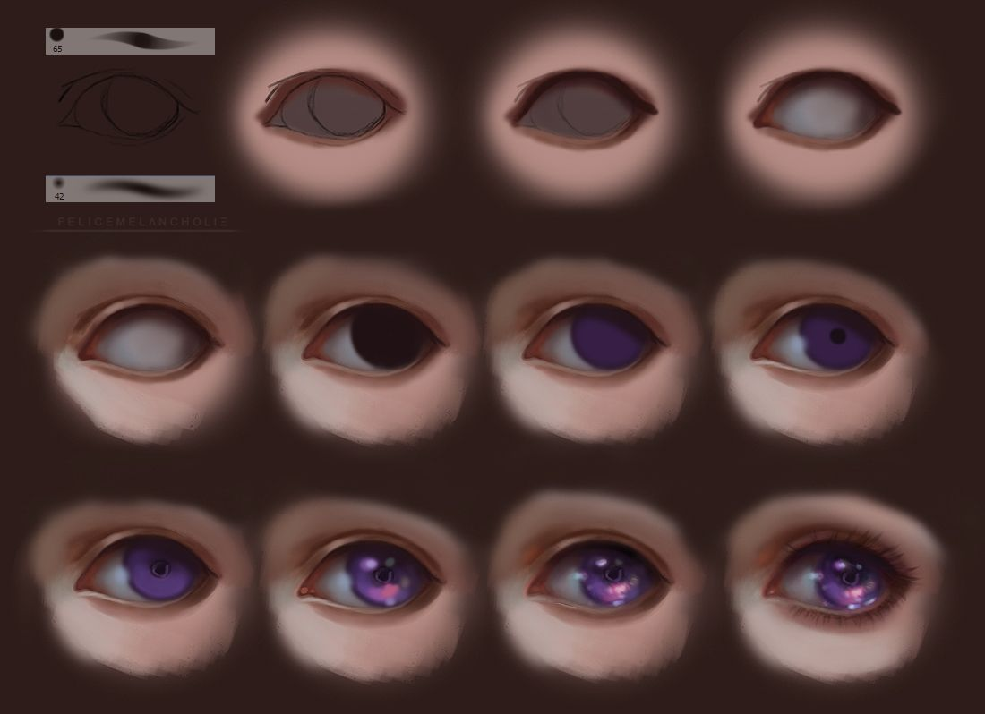semi realism eyes step by step by felicemelancholie drawing