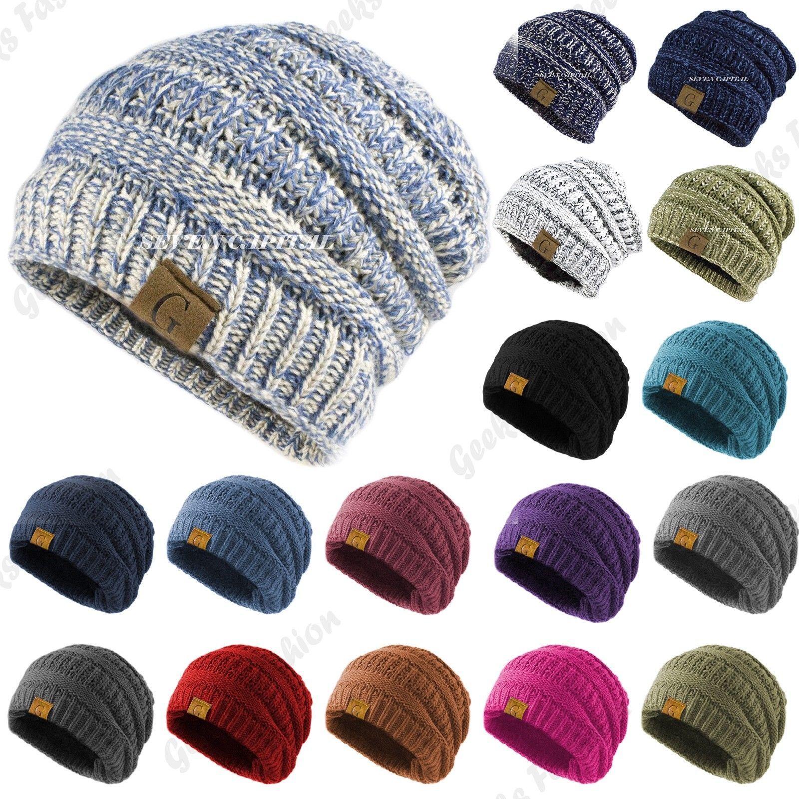 Black Color Beanie Knit  Men Women Winter Ski Warm Cap Skull Cuff Hats slouchy!