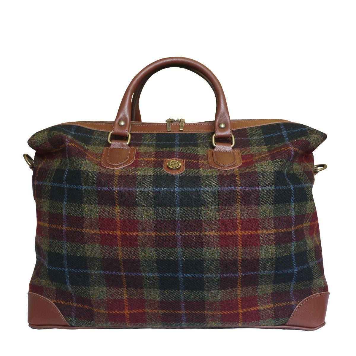 9f11a8a6f013 Attavanti - Bonfanti Leather and Harris Tweed Weekend Cabin Bag - Green and  Red Tartan