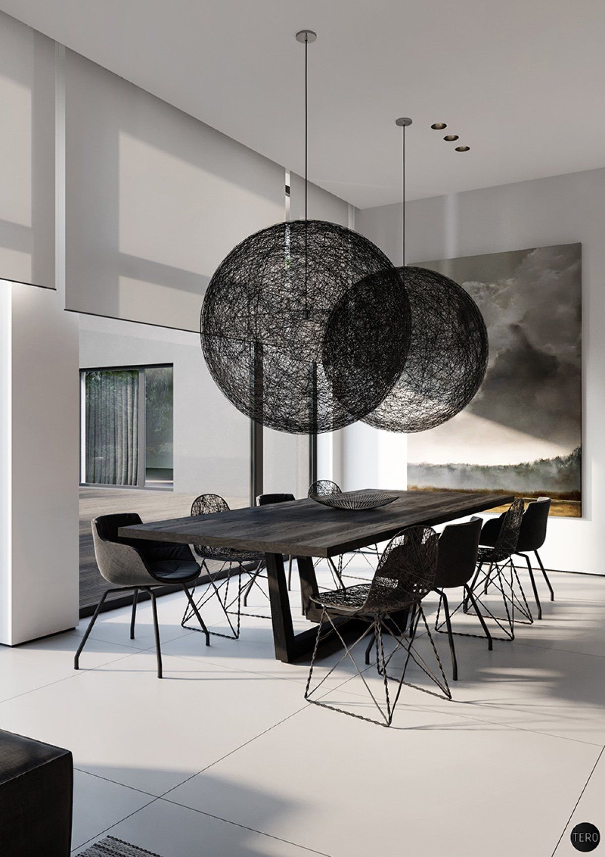 Three Black And White Interiors That Ooze Class Luxury Dining Room Dining Room Design Modern Minimalist Dining Room
