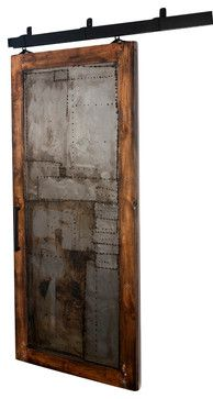 Steampunk Scrap Metal Barn Door - 7 Ft H X 3 Ft W - Glaze + Clear Coat Finish rustic windows and doors