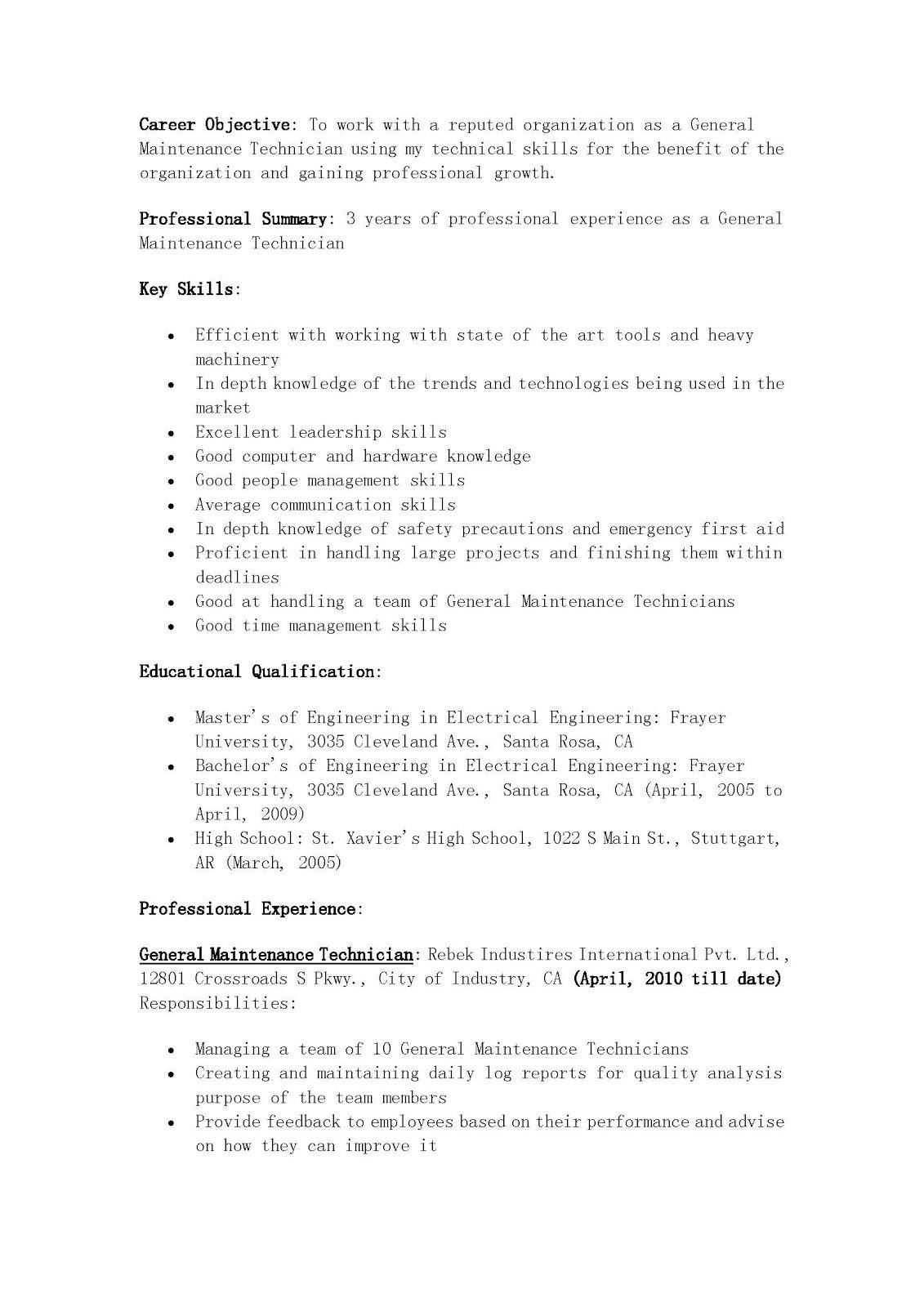 Apartment Maintenance Technician Resume Apartment Maintenance Technician Resume Summary Apartment Maintenance Technici Job Resume Examples Resume Skills Resume