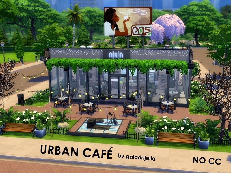 This Modern And Stylish Cafe Is Open For All Coffee Lovers From The Neighbourhood It Has Tables Inside And Outside On T Sims 4 Restaurant Sims The Sims 4 Lots