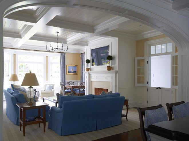 Living Room Millwork Coffered Ceiling Archway