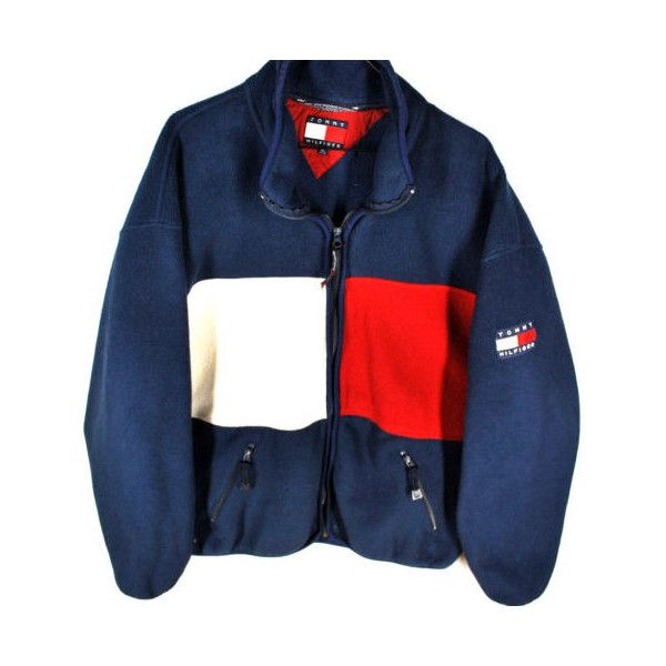 dc7f64abf2d VTG 90s Tommy Hilfiger BIG LOGO Fleece Jacket Mens XL Full Zip HIP HOP... ❤  liked on Polyvore featuring men s fashion